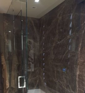Amber Brown Marble Shower